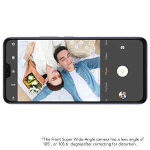105° Super Wide-Angle Front Camera
